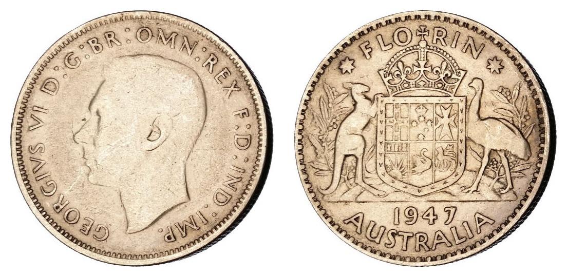 Australija 1 florin 1947 - srebro