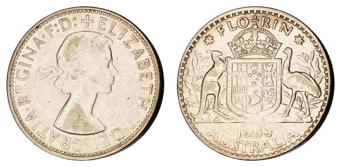 Australija 1 florin 1963 - srebro