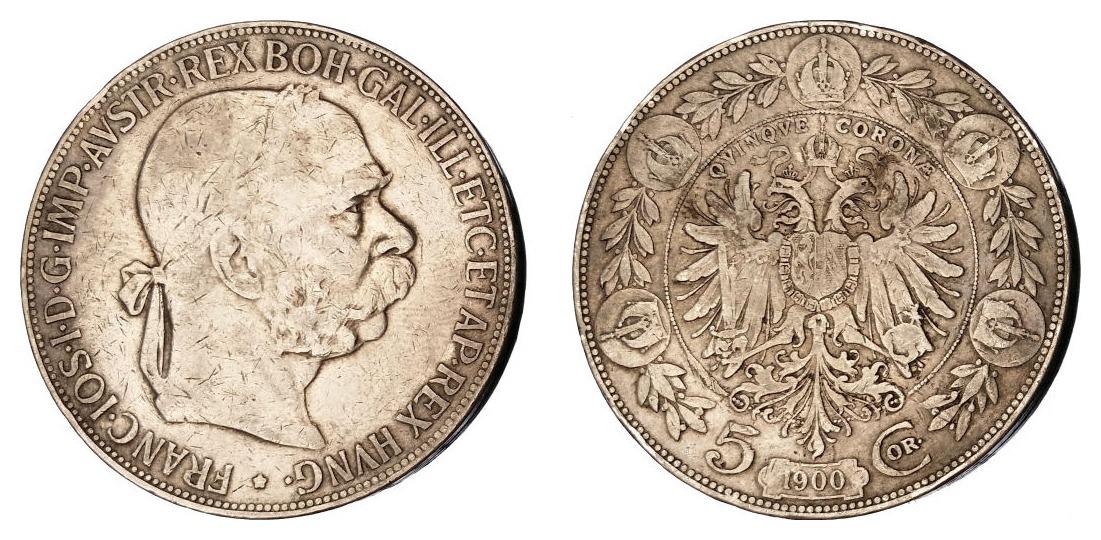 Austrija 5 kruna 1900 - srebro