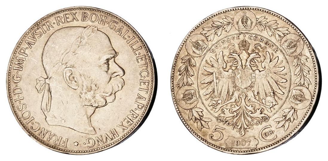 Austrija 5 kruna 1907 - srebro
