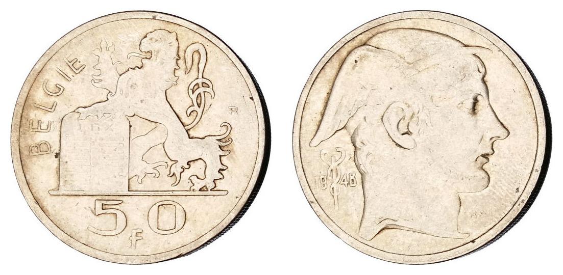 Belgija 50 franaka 1948 - srebro