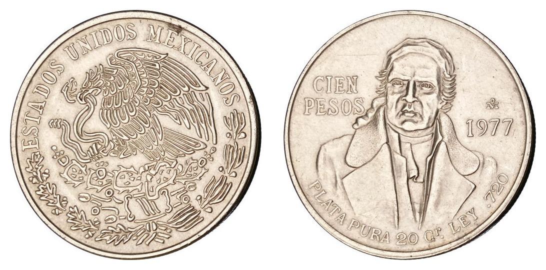 Meksiko 100 pesosa 1977 - srebro