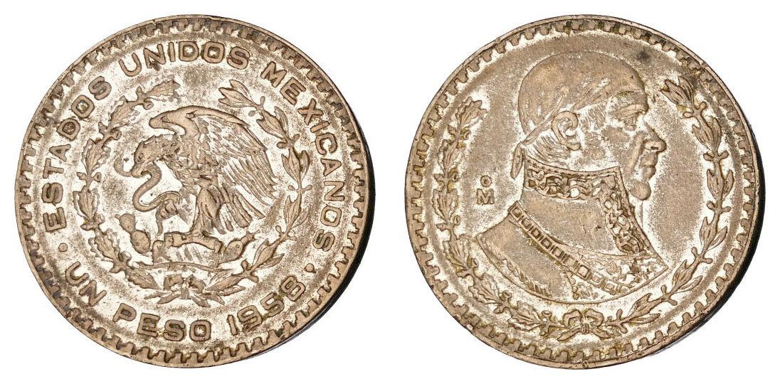 Meksiko 1 peso 1958 - srebro - VF
