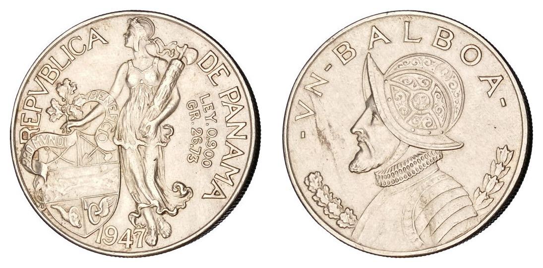 Panama 1 balboa 1947 - srebro