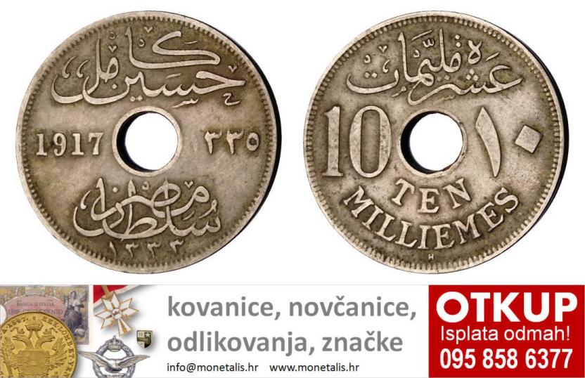 EGYPT 10 milliemes 1917 VF - OTKUP NUMIZMATIKE - 095 858 6377 - www.monetalis.hr