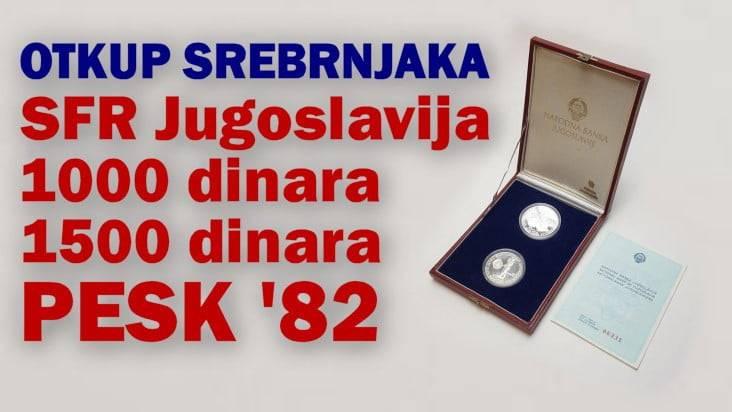 Otkup srebrnjaka Jugoslavija 1000 i 1500 dinara 1982 - PESK '82 - Međunarodno natjecanje u kanuu
